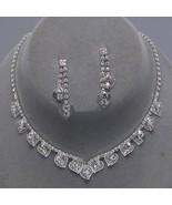 SILVER tone clear crystal dangle necklace earri... - $18.18