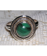 Malachite and Sterling Silver Shield Ring size ... - $27.00