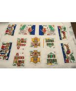 Vintage Christmas Village Fabric Pillow Panels ... - $9.95