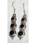 Handcrafted Black Onyx Triple Cabochon Earrings - $18.00