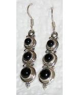 Handcrafted Black Onyx Triple Cabochon Earrings - $18.00