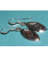 Marquise shaped Abalone and Sterling Silver Ear... - $8.00