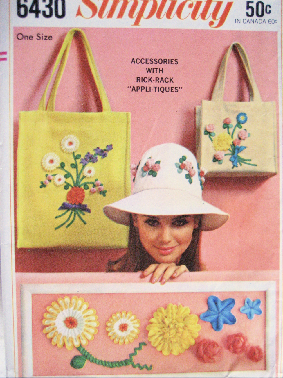 Simplicity 6430 Vintage 60s Rick Rack Accessories Applique Pattern Unused