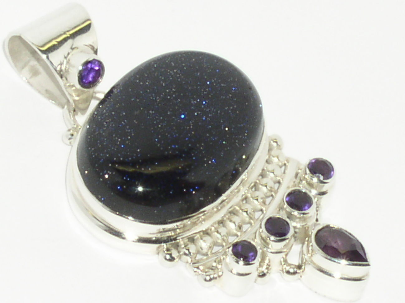 925 Sterling Silver Blue Goldstone Purple Amethyst Pendant
