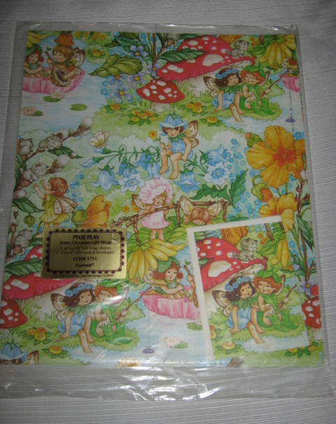 "3 Vintage 1980 Current ""Pixie Play"" Gift Wrap  NRFP ~ 6 Sheets Total"