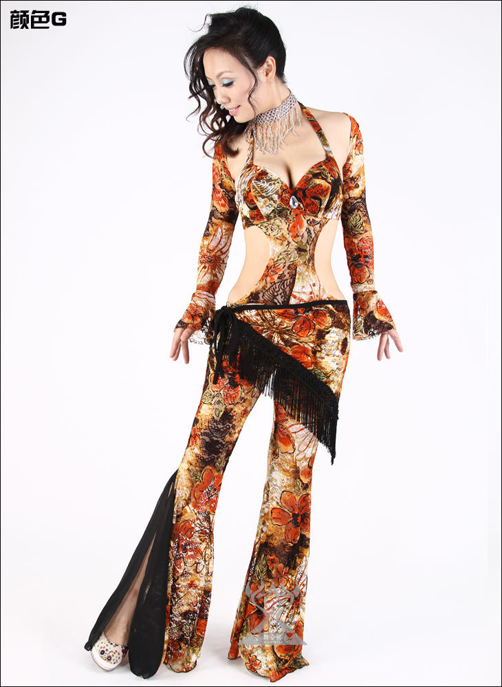 Belly Dance Floral Prints Tulle Practice Set : Bra Top, Dance Pant, Sleeves