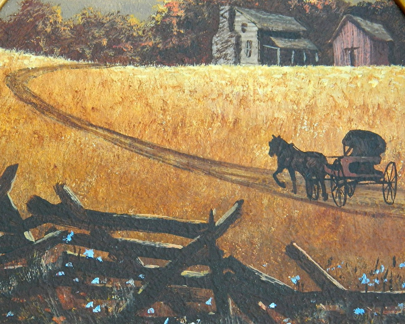 Amish Horse Buggy Farm Original Painting Wisconsin Grieger