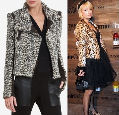 NEW BCBG AUSTEN LEOPARD-PRINT FAUX-FUR CROPPED JACKET XS $328 10% OFF W/BIN