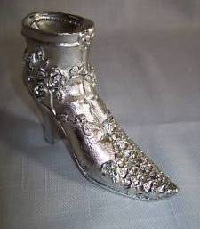 Silver Color Figurine Boot Ring Holder Victorian