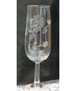 Etched Wine Glass - Floral design - $4.00