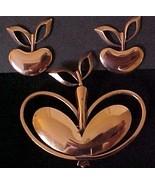 Vintage RENOIR Retro Copper Apple Motif Pin & E... - $26.50