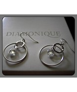 14k Solid White Gold Diamonique CZ Dangle Earri... - $54.99