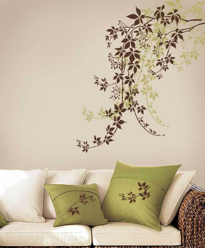 Large Painting Stencils For Walls : Wall stencil virginia creeper reusable stencils