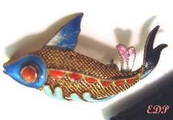 Fish Asian Oriental Koi Brooch Pin Sterling Filigree Enamel