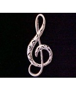 Fancy Sterling Silver TREBLE Clef Musical Pin w... - $10.00