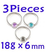 Lot 18g~1mm 1/4 Eyebrow Tragus Captive Bead Rin... - $6.99