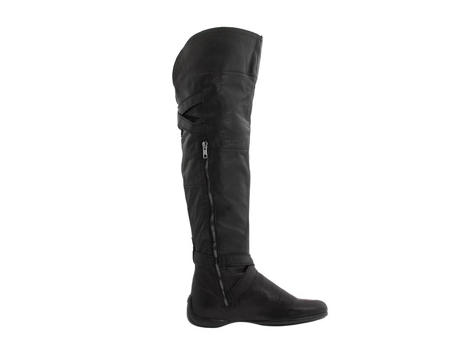 dkny black leather buckle otk flat boots us 6