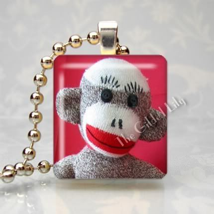SOCK MONKEY CLASSIC TOY Scrabble Tile Art Pendant Charm