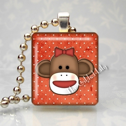 SOCK MONKEY PRIM COUNTRY Scrabble Tile Pendant Charm
