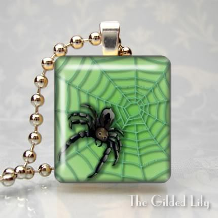 SPIDER & WEB INSECT Scrabble Tile Art Pendant Charm