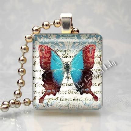 SWALLOWTAIL BUTTERFLY Scrabble Tile Art Pendant Charm