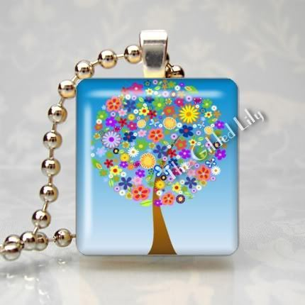 TREE OF FLOWERS Scrabble Tile Altered Art Pendant Charm