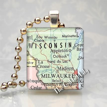 WISCONSIN MILWAUKEE AREA MAP Scrabble Art Pendant Charm