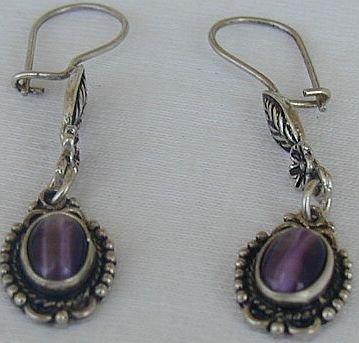 Dangling purple earrings