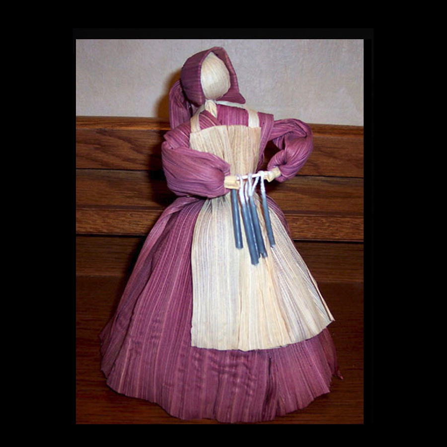 Candle Maker Corn Husk Doll - Country Blue