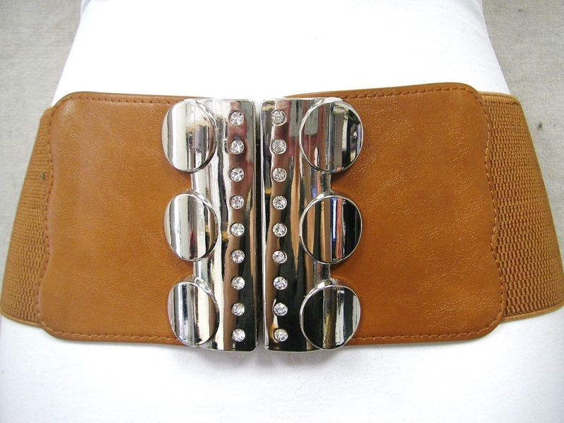 "CIRCLES AND STONES CHROME BUCKLE ON A STYLISH BEIGE WOMEN ELASTIC BELT 28""-40"""