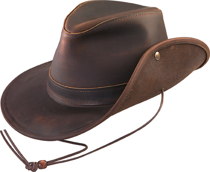 Henschel Hats 0334P Oiled Pull Up Leather Safari Snap Up Brim Made In USA