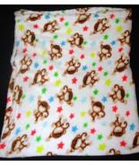 Baby Kiss Monkey Baby Blanket Stars White Plush... - $24.99