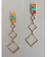 Long Dangle Earrings Native American Inlay Ster... - $240.00