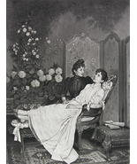YOUNG LADY Love Sick Flowers - VICTORIAN Photogravure - $16.84