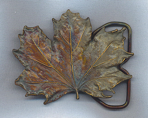 Remarkable Vtg. Maple Leaf Brass Fall Colors Belt Buckle