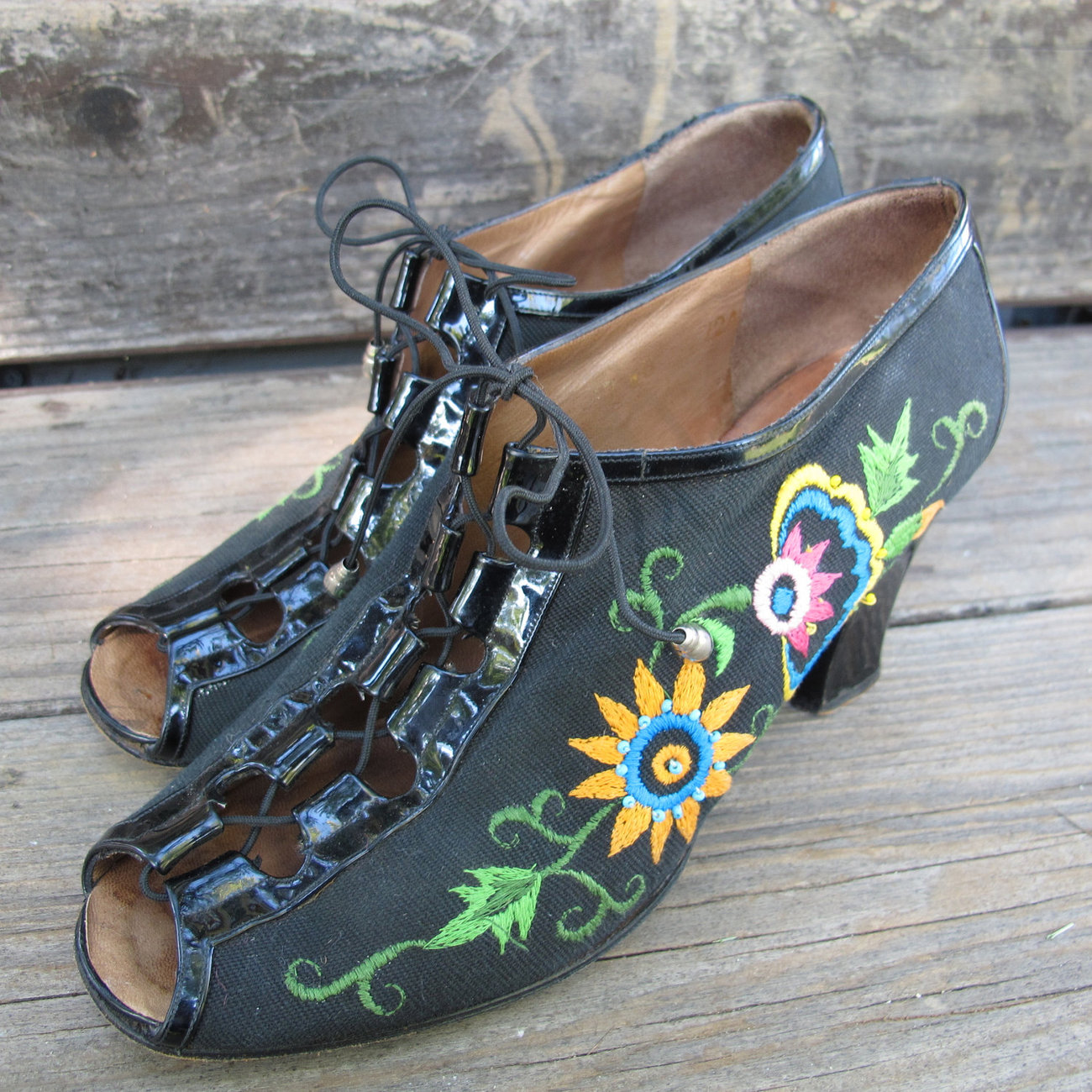 Ladies Vintage Shoes by Jerry Edouard Floral lace up Shoes
