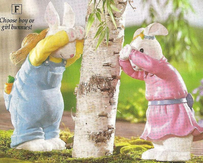 Image 0 of Girl & Boy Bunnies Playing  Peek-A-Boo Seasonal