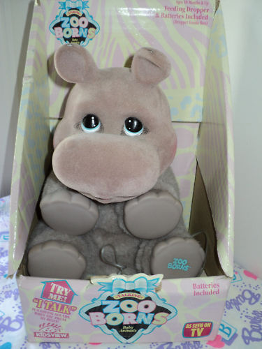 Zoo Borns Ultra Rare Talking Hippo Plush 1994 Works! + BOX