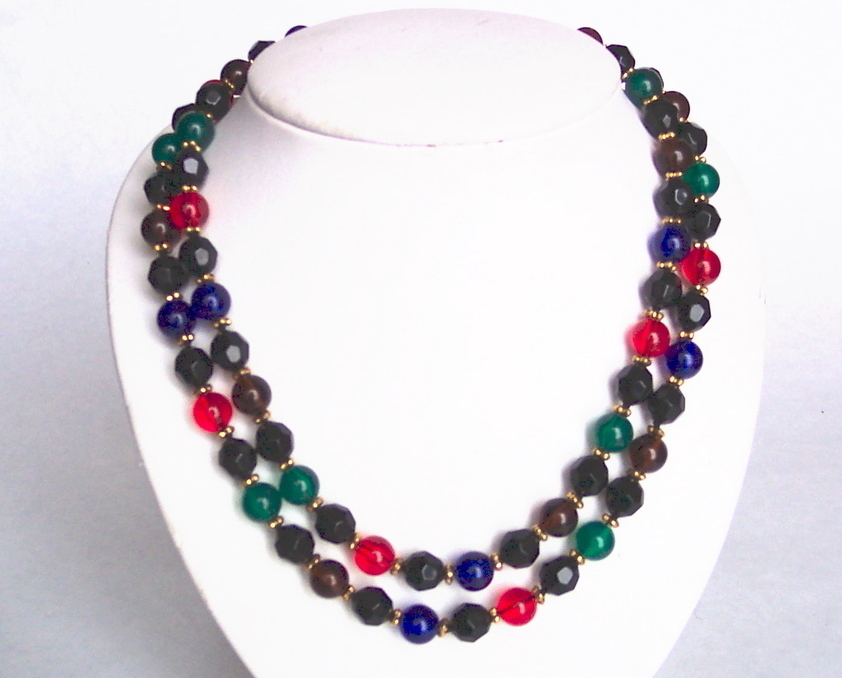 "37"" Bead Beaded Colorful Jeweltones Necklace"