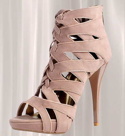 Taupe Lace Up Multi-Strap High Heel