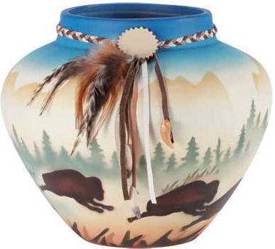 Indian Buffalo  Pot  With leather and Feathers