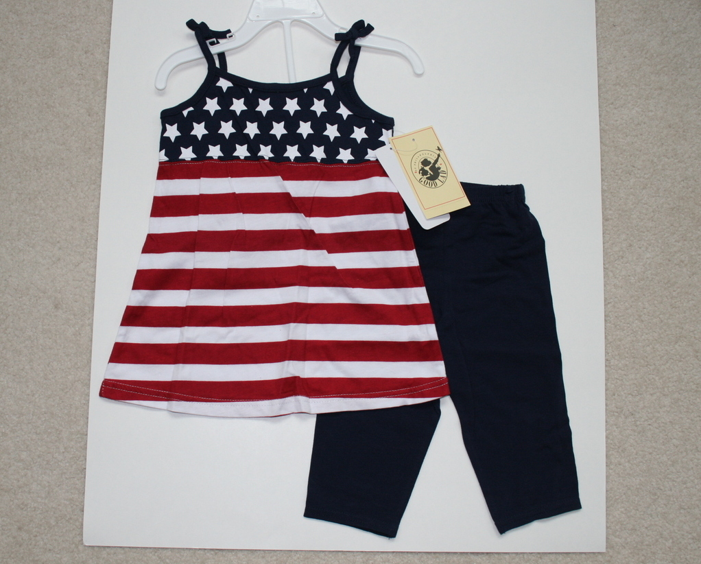 Girl July 4th Stars & Stripes Outfit, 2T, New with tags, dre