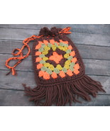Vintage Groovy Hippie crochet granny square pur... - $25.00