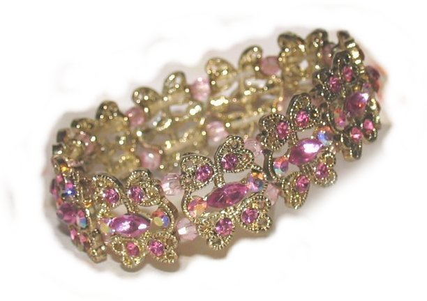 Love Hearts Bracelet Vintage-look Rose Crystals Bangle New Delicate Beauty