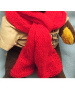Red Mohair Neckscarf Long Hand-knit New 9 by 64... - $10.50