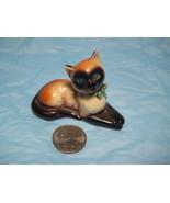 Goebel Minature Siamese Cat Figurine~Blue Eyes/Green Bows - $6.00