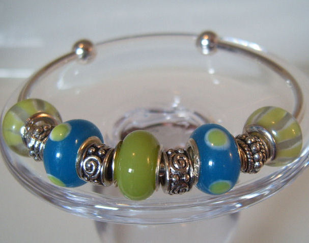 Bangle Bracelet Pandora Style Sterling Beads Lime Green Blue