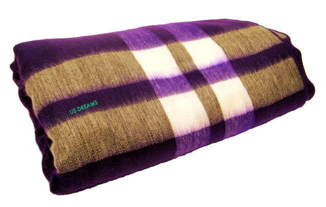 NEW ALPACA BLANKET PURPLE STRIPED QUEEN FULL THROW SALE