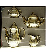 Tea Coffee Set Gold plate over 1000/1000 Silver... - $951.75