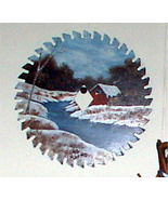 Hand Painted Saw Blade Winter Creek Scene Order - $34.00
